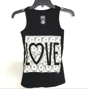 "JUSTICE Black and Lace ""LOVE"" Tank Size 14"